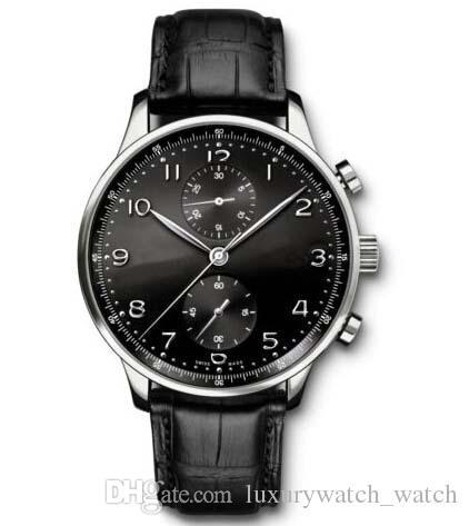 Heißer Verkauf Luxusuhren Marke Männer Uhr Neu Portugiesisch Chronograph Schwarzes Zifferblatt 40mm Uhr I371447 Armbanduhren