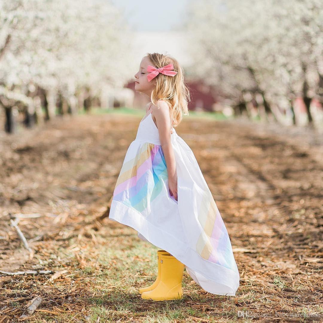 2018 nuevos vestidos de las muchachas ropa de la muchacha del bebé del verano vestido del resbalón del arco iris Niños Sundress para las muchachas Ropa del niño Vestidos del bebé 1-5years