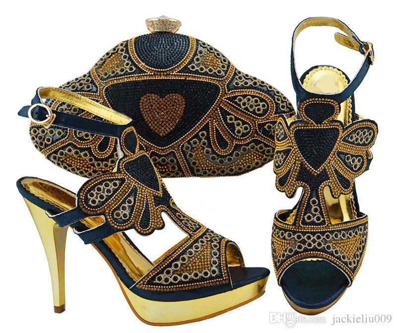 Bombas mulheres elegantes D.blue com sapatos de cristal e strass africano corresponder ao conjunto de bolsa para JZC004 vestido, calcanhar 11.5cm