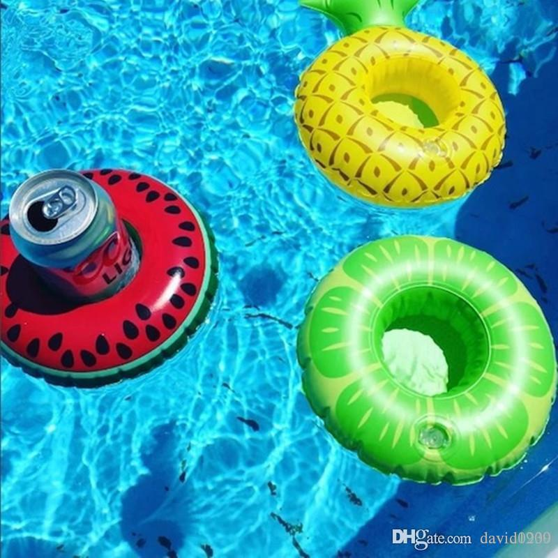 Inflatable Drink Cup Holder 7 styles Donut Flamingo Watermelon Pineapple Lemon Shaped Floating Mat Floating Pool Toys