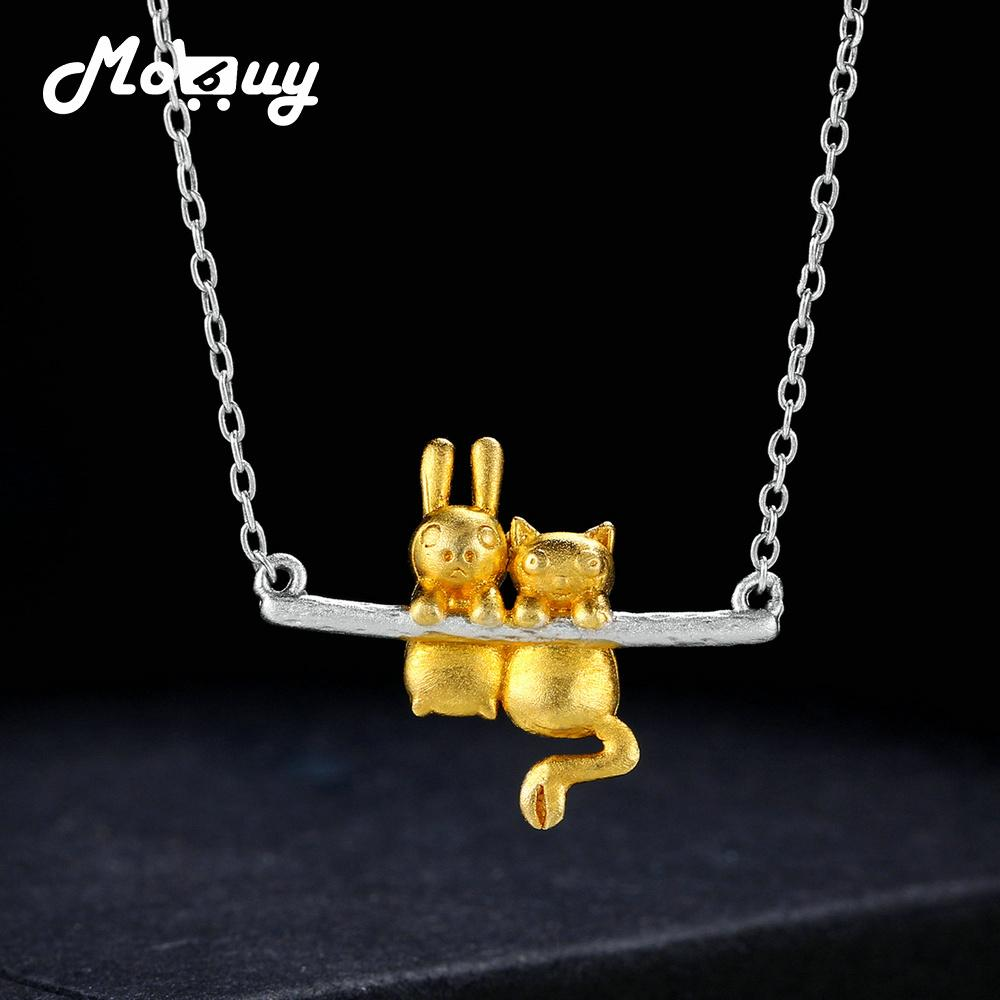 MoBuy Wiredrawing Yellow Gold Rabbit 100% 925 Sterling Silver Necklace & Pendant Fine Jewelry For Women Engagement Gift MBNY009 Y1892806
