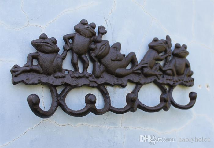 2 Pieces Cast Iron Decorative 5 Lovely frogs Coat Rack with 5 Hooks Key Hanger Holder Hanging Garden Porch Cabin Lodge Wall Mounted Decor