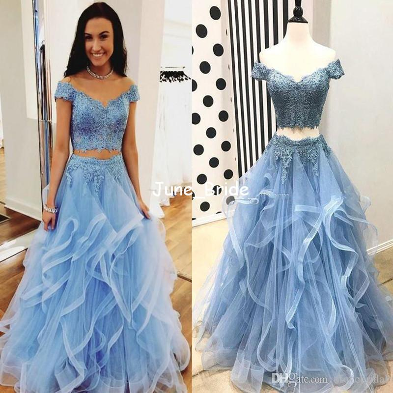 Two Pieces Chic Layer Ruffles Evening Dresses Sexy Off Shoulder Floor-Length Prom Gown Romantic Girl Gala Holiday Party Dresses Real Photo