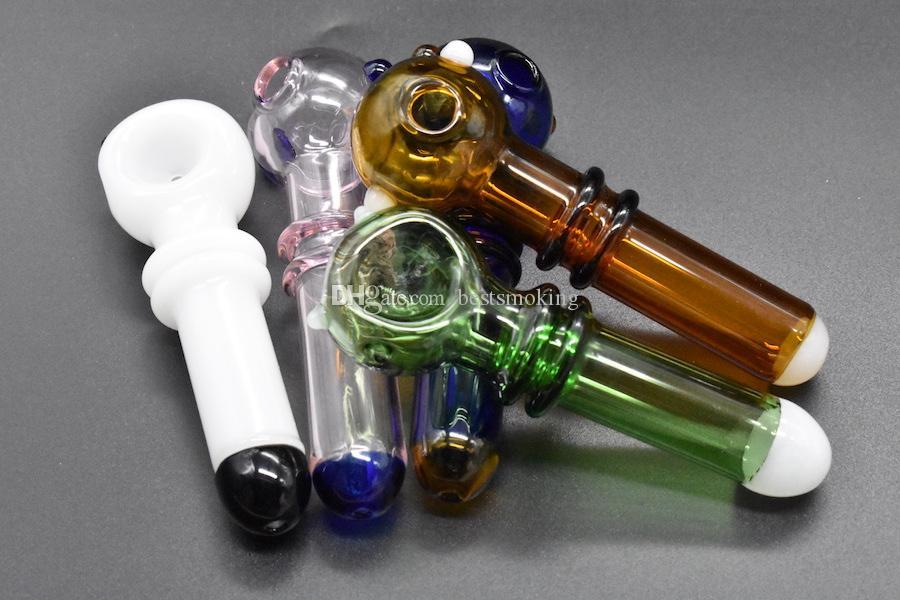 Date coloré verre fumer tube de brûleur à mazout tube verre verre tabac cuillère main tuyau pour herbe sèche
