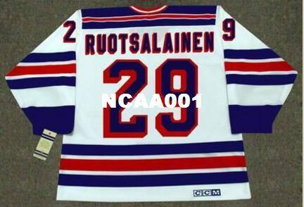 Mens # 29 REIJO RUOTSALAINEN New York Rangers 1984 CCM Vintage Home Hockey Trikot oder benutzerdefinierte jeder Name oder Nummer retro Jersey