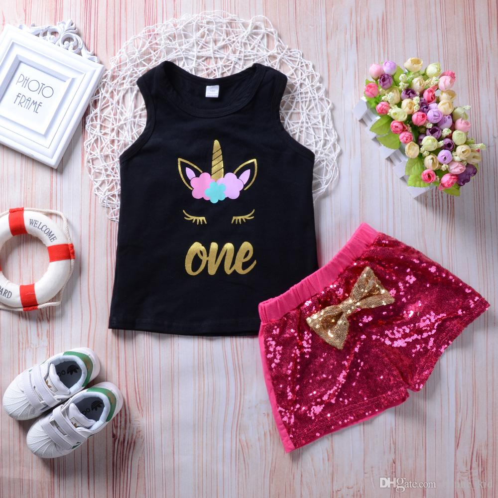 Baby Girl Pink Sequins Blingbling Shorts+ Black Unicorn Vest 2Pcs set Outfits Kid Casual Clothes Girls Summer Boutique Costume Clothing