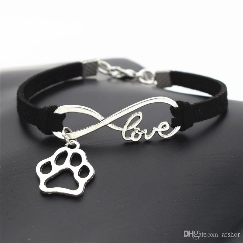 AFSHOR 2018 Women Stylish Personalized Antique Silver Pets Dogs Lover Animal Charms Pendant Leather Infinity Love Wristband Bracelet Bangles