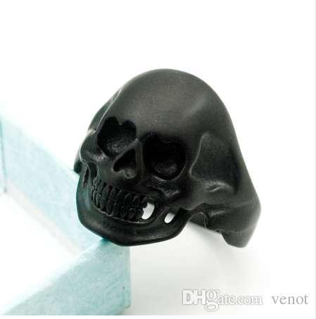 ATGO color negro corazón en forma de ojos cráneo hombres anillos nuevo tamaño de moda 6-13 fresco motorista hip hop estilo rock joyería buen regalo BR379