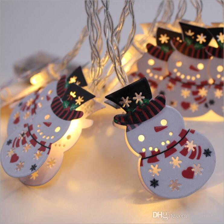 SXI 1.2m luces de cadena de navidad decoraciones muñeco de nieve 10 luces led con pilas interior al aire libre para el árbol de Navidad césped patio jardín casa
