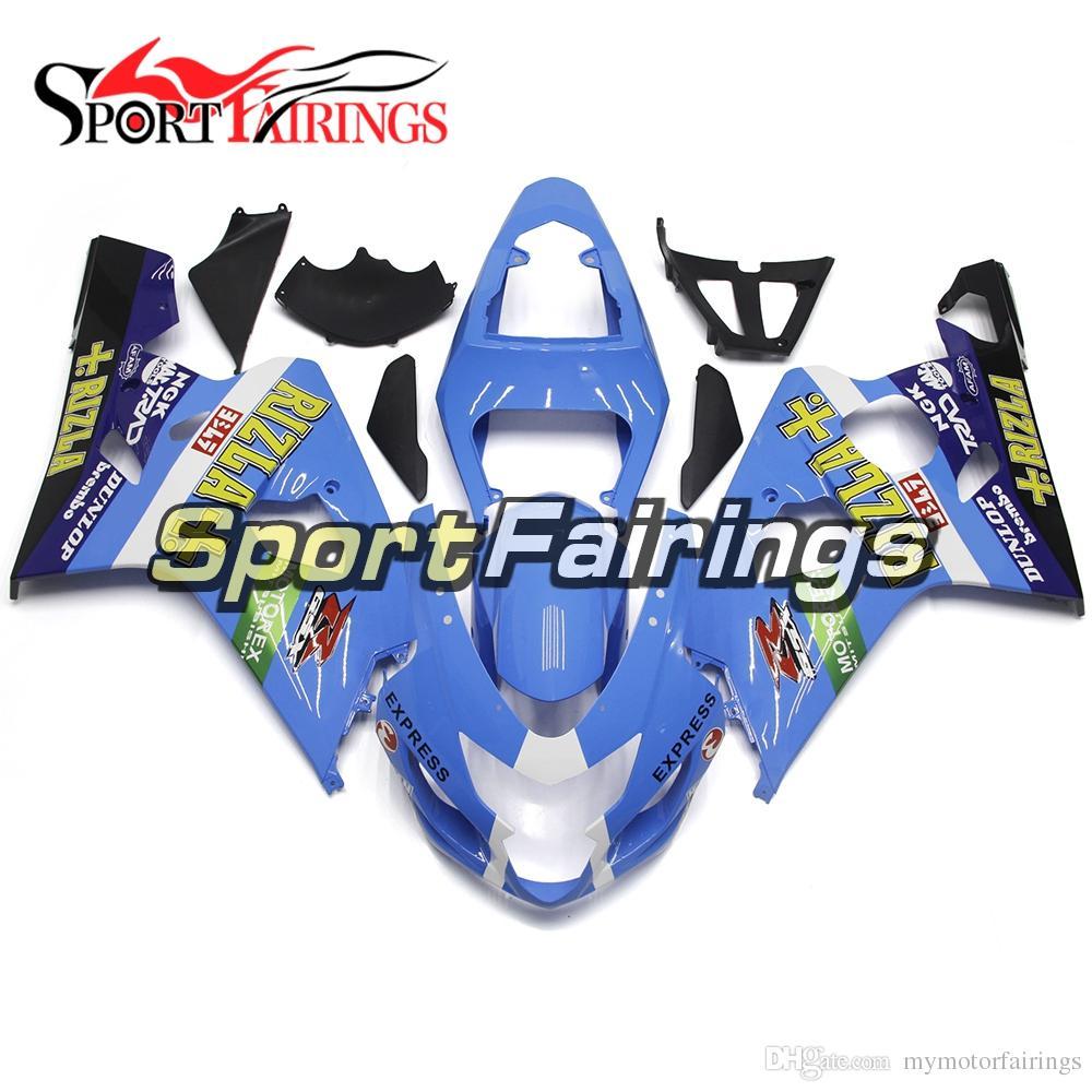 Complete Rizla Blue Fairings For Suzuki GSXR600-750 Year 04 05 2004 2005 K4 Sportbike ABS Plastics Fairing Kit Injection Hulls