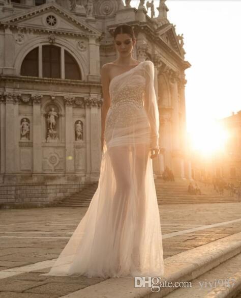 abiti Weddding una manica lunga di alta qualità 2018 di moda Morden abiti da sposa perline shikt abito lungo dentro