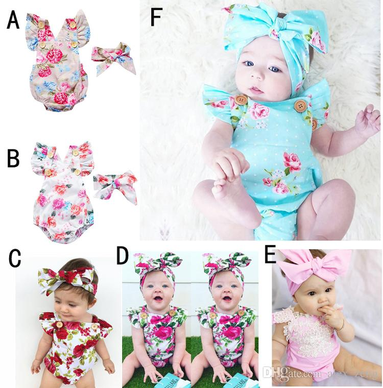 6 Styles Infants Baby Girl Floral Rompers Bodysuit With Headbands Ruffles Sleeve 2pcs Set Buttons 2017 Summer INS Romper Suits 0-2 years