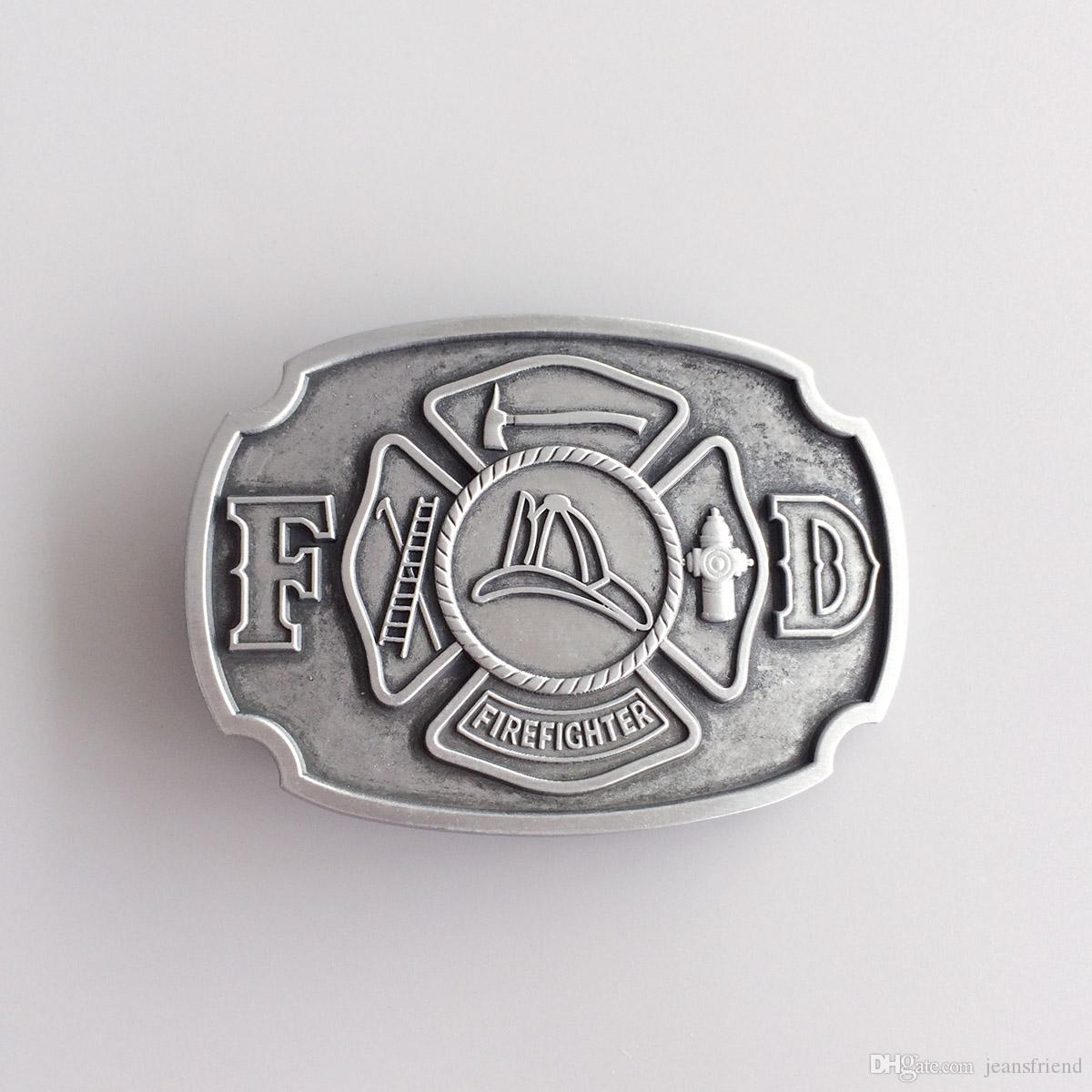 Antique Brass Plated Fire Firefighter Belt Buckle