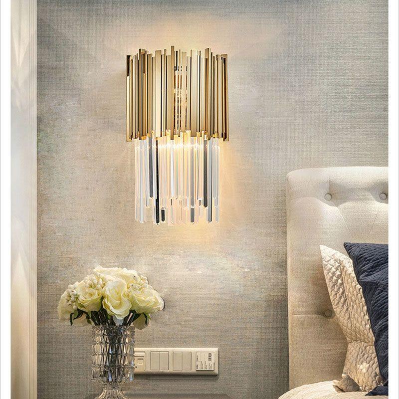 Postmodernowe luksusowe kryształowe lampy ścienne Złote kinkiety ścienne do sal sypialni