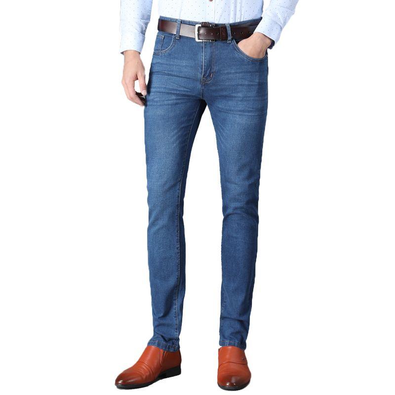 nuevo estilo ff233 59ef8 2019 2018 Men Classic Jeans Brand Large Size Straight Pantalon Homme Jean  Slim Distressed Design Biker Pants Fit Blue Black From Douban, $33.85 | ...