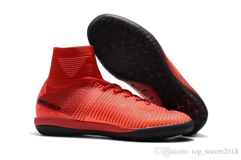 Оригинальный ICEFire красный черный плоский футбол бутсы Mercurial Superfly V SX Neymar JR IC крытый футбольные бутсы высокое качество футбольные бутсы