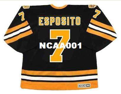 Mens # 7 PHIL ESPOSITO Boston Bruins 1975 CCM Vintage Away Hockey Jersey o personalizada cualquier nombre o número retro Jersey