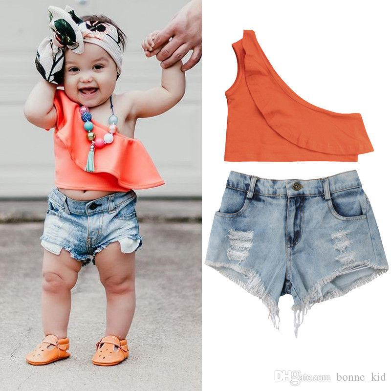 Ins ragazze dei capretti di modo bambino fuori arancio spalla Pantaloncini jeans strappati 2pcs volant abiti con estate boutique di abbigliamento 2-7Y