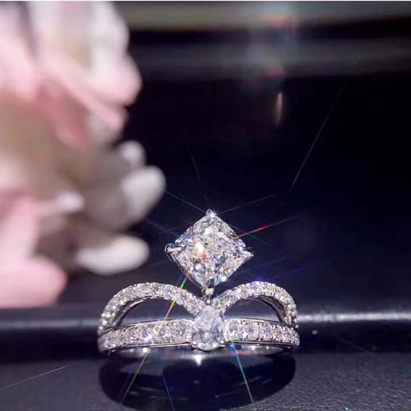 18 K Ouro Branco (AU750) Mulheres Anel de Casamento Certificado G / VS1 Luxo 1.01 CT Princesa Real Anel de Diamante Moda Design Personalizado S923