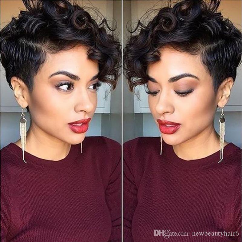 De alta qualidade peruca de cabelo simulação humana curta Enrolado Preto peruca bonito para sintético preto Mulheres Afro Africano Perucas da Mulher Negra