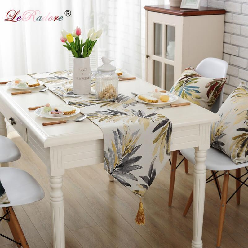 LeRadore Polyester Tropical Palm Leaves Print Table Runner European Style Fashion Contracted Modern Refrigerator Wardrobe Flag