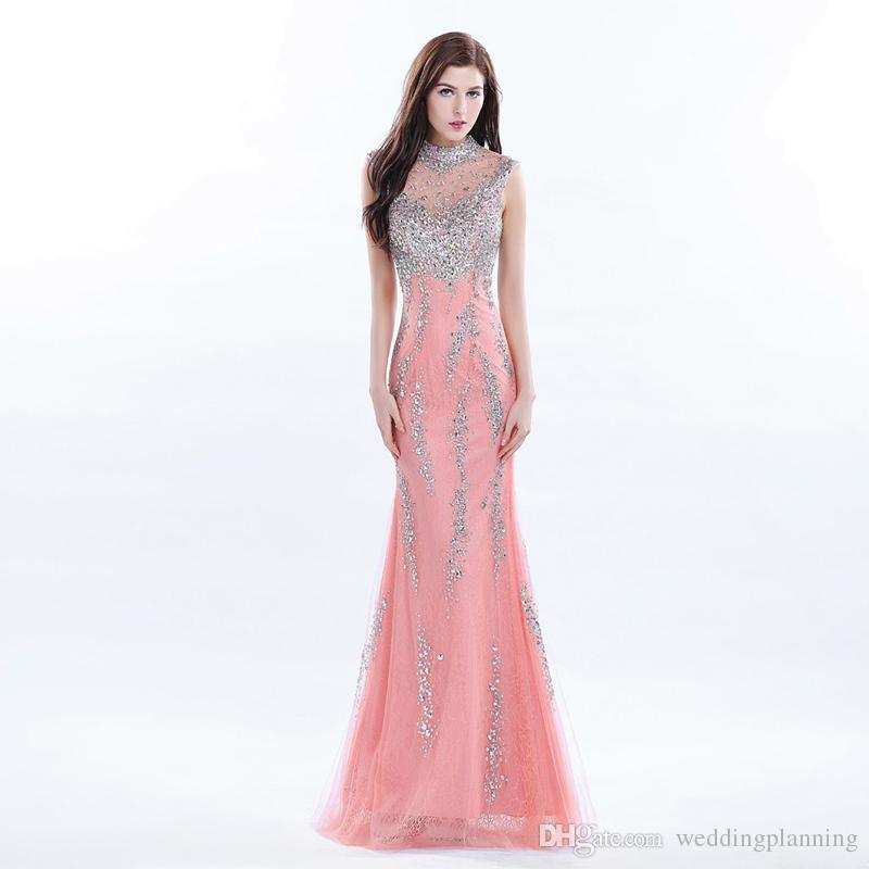 Luxury Celebrity Long Coral Prom Dress Beaded