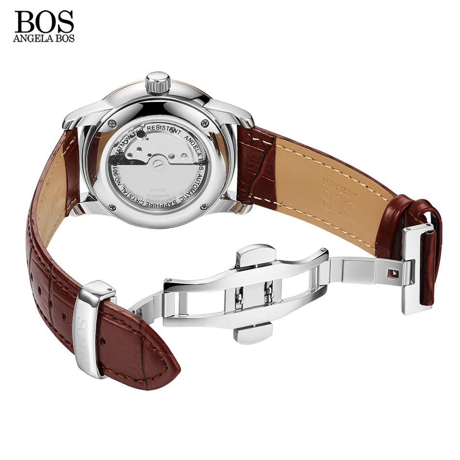 ANGELA BOS бизнес механические мужские часы автоматические self-wind Сапфир волнистые шаблон натуральная кожа золото роскошные часы мужчины