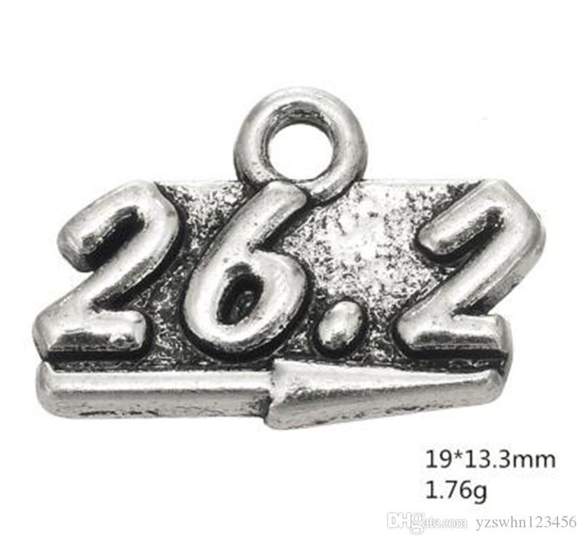 Aleación de zinc caliente Número Charm 26.2 Rectángulo encanto con agujero Alfabeto Charm Fit DIY fabricación de joyas