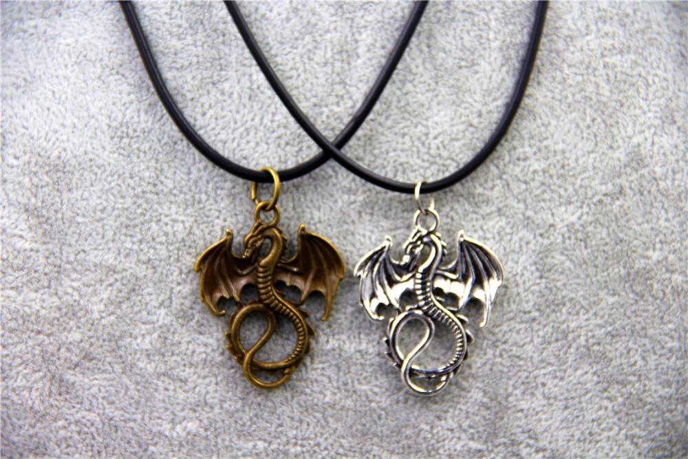 Fashion Jewelry Vintage Charm Hobbit 2 Fire Dragon Pendant Necklace,original factory supply