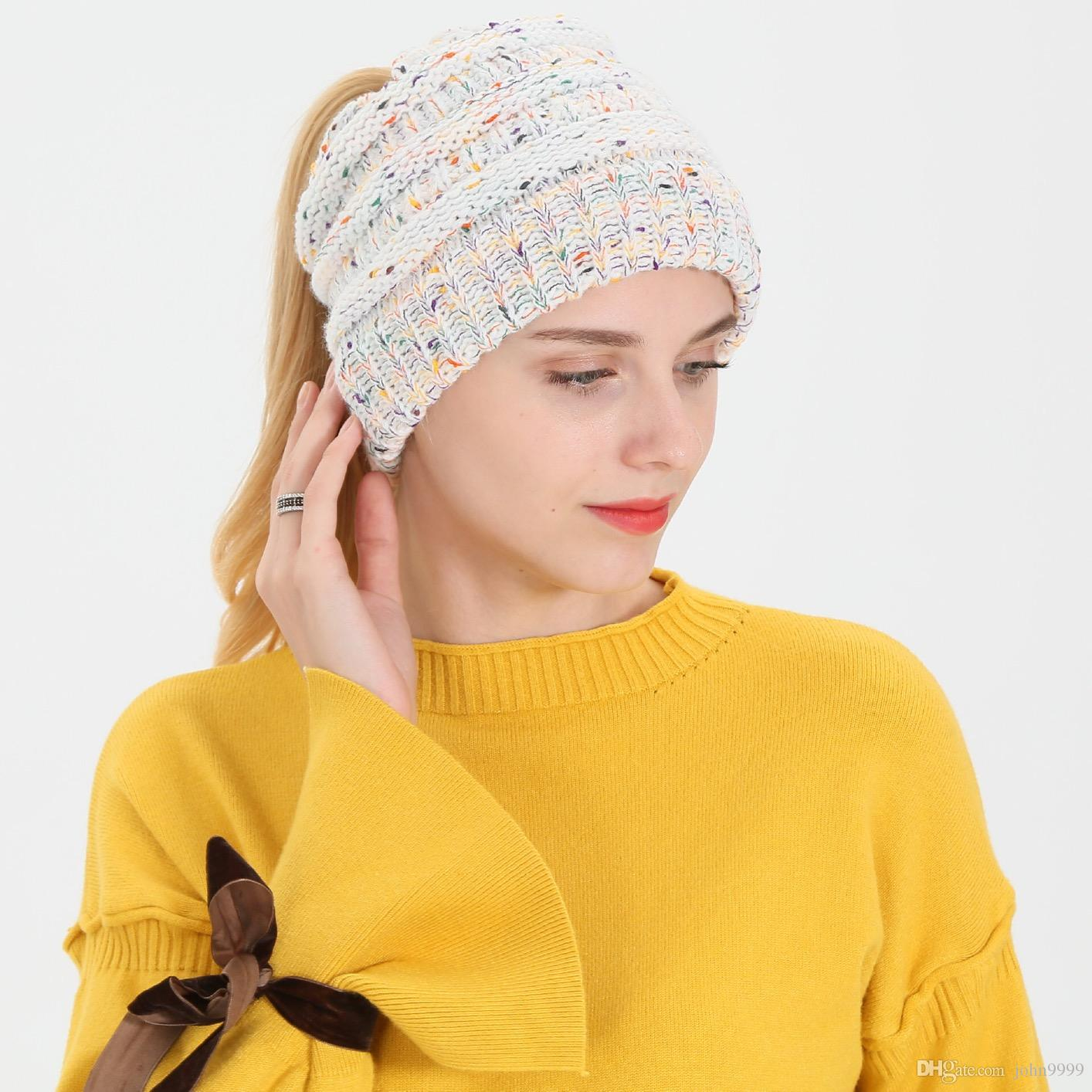 cf2a9f6e4 2018 New Autumn And Winter Ponytail Wool Hat Ladies Flower Line Variegated  Fashion Wild Knit Hat Skull Cap Beanie Boo From John9999, &Price;| ...