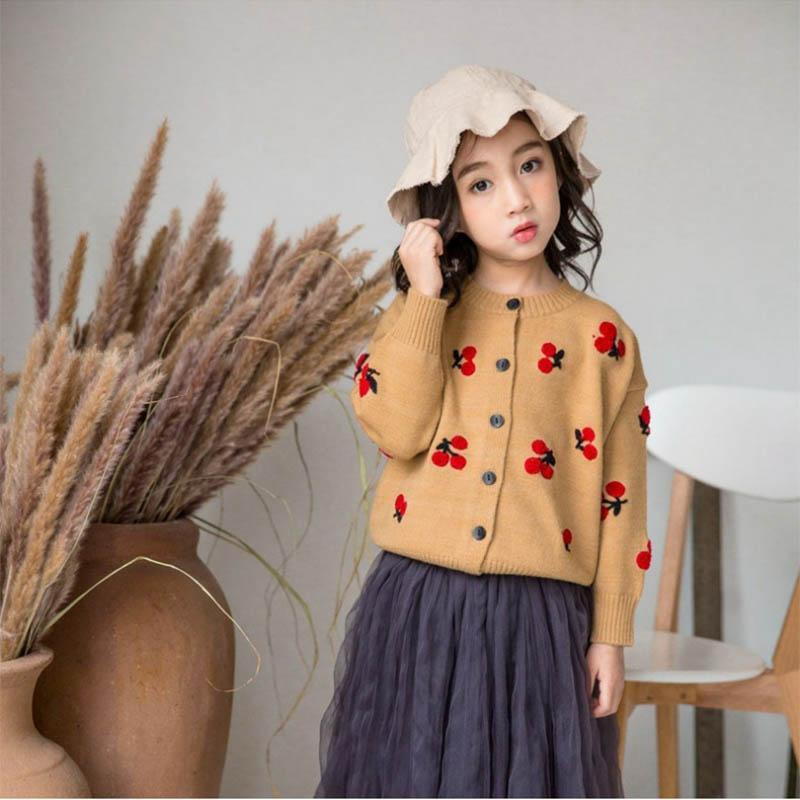 Nuevo diseño de ropa de los niños del suéter de cereza bordado imágenes Chicas jersey de punto Cardigan 4 6 8 10 años de edad