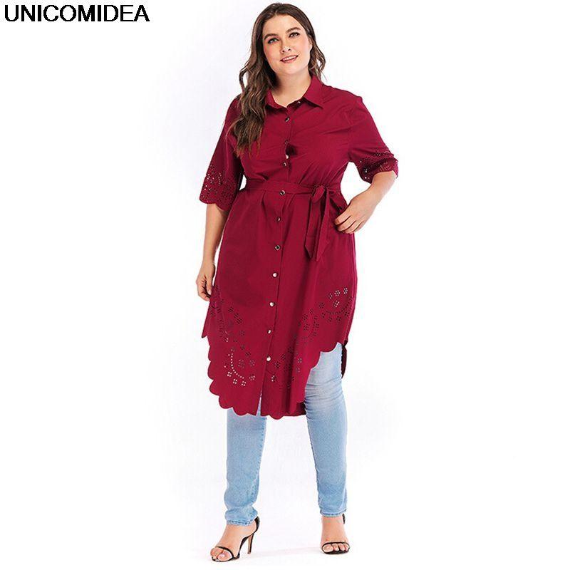 Artı Boyutu Kadınlar Uzun Bluz Sashes Trun Aşağı Yaka Gevşek Bluzlar Gömlek Oymak Camisa Feminina Blusas Chemise Femme Tops 5XL