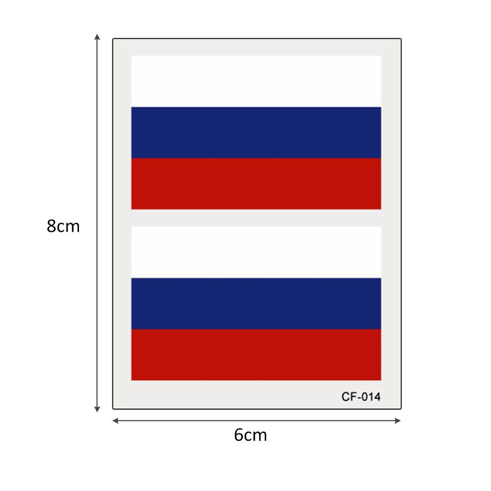 Rusia World Cup National Banner Flags Tattoo Temporal Fútbol Deportes Funs Watching Game Body Sticker Glary Years 100 Hojas 6 * 8cm