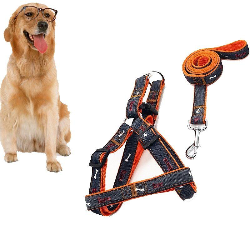 Yüksek Kalite Ucuz Fiyat Pet Malzemeleri Köpek Kedi Tasma Koşum Seti Kemikleri Desenler Kot Bez Moda Pet Köpek Harnes Köpek Tasmalar