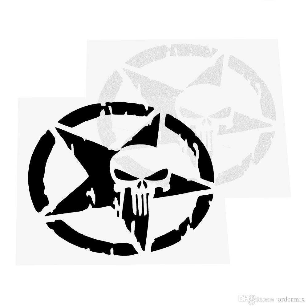 ملصقات السيارات والشارات خمسة أشار ستار الجسم ديكور سيارة التصميم السيارات دراجة نارية ملصق الجمجمة رئيس أسود / فضي 13 * 13 سنتيمتر