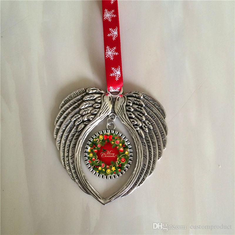 sublimation christmas ornament decorations angel wings shape blank hot transfer printing consumables supplies new style wholesales