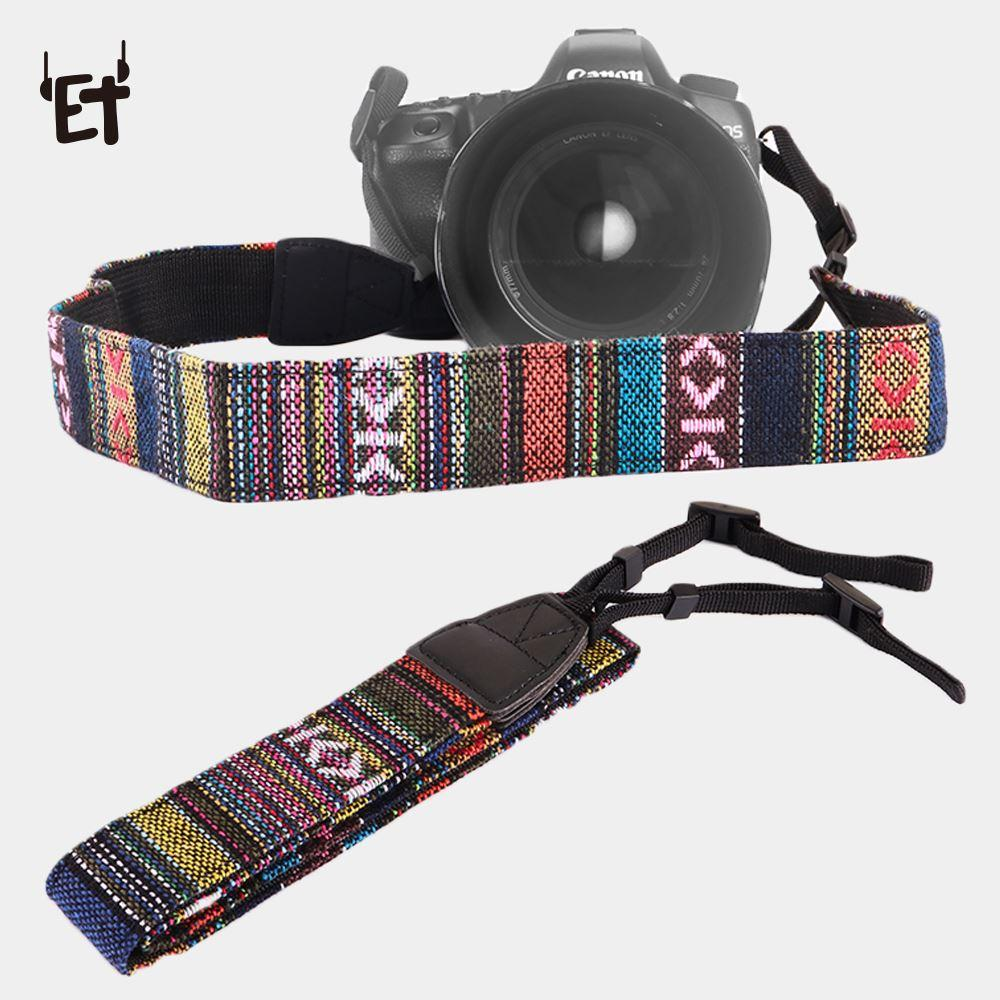 ET Retro Style Camera Strap Belts Cotton Yard Pattern Neck Sling Straps Colorful Shoulder Hand Strap for Canon Nikon DSLR Fuji