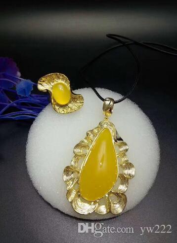 Naturalny Chryzantema Chrome Wisiorek Pierścień Styl Unikalny Nowy Europejski Powrót Powietrza Żółty Agat Kryształowy naszyjnik