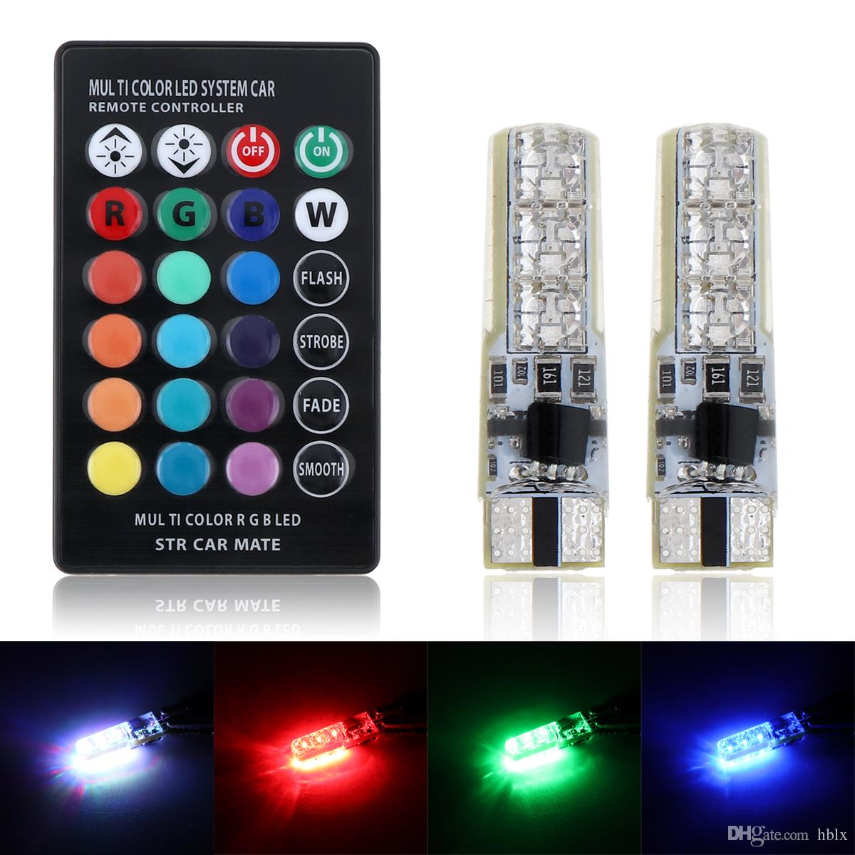 2 unids 12 V T10 5050 LED RGB Multi-color Auto Car Interior Bombilla Cuña Side Strobe Dashboard Indicador Lámpara + Control Remoto CLT_20Y