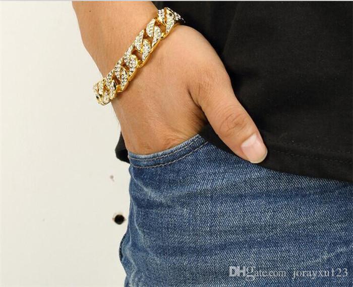 100 pcs luxo dos homens simulado diamante moda pulseiras pulseiras banhado a ouro de alta qualidade congelado para fora de Miami cubano pulseira Hip Hop J051