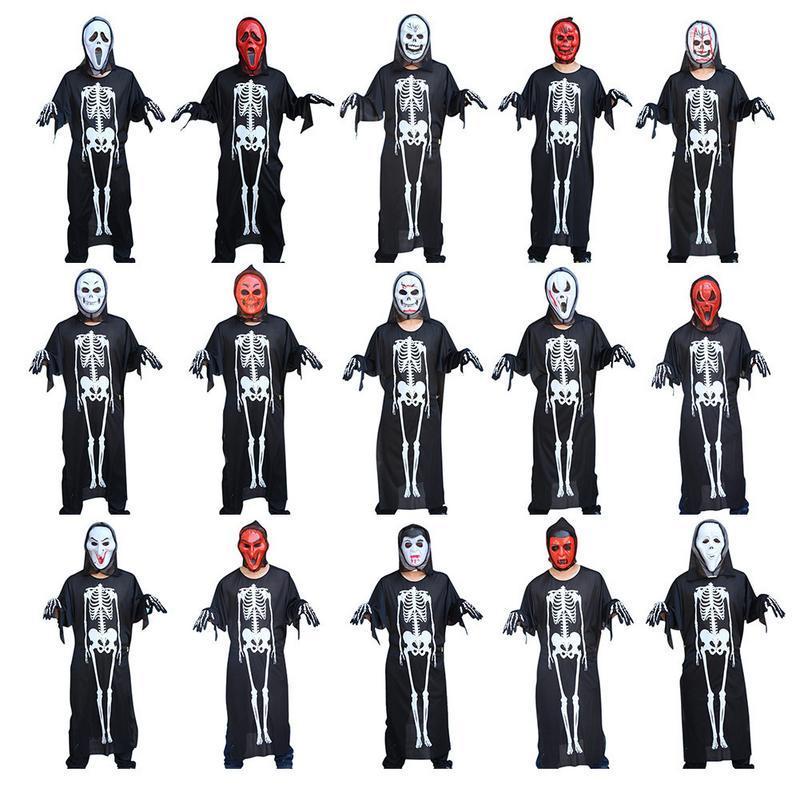 Trajes de Halloween Acessórios Do Feriado Manto de Diabo Skeleton Luvas Máscara Adulto Prom Suprimentos Homens Mulheres Conjuntos Masquerade Esqueleto