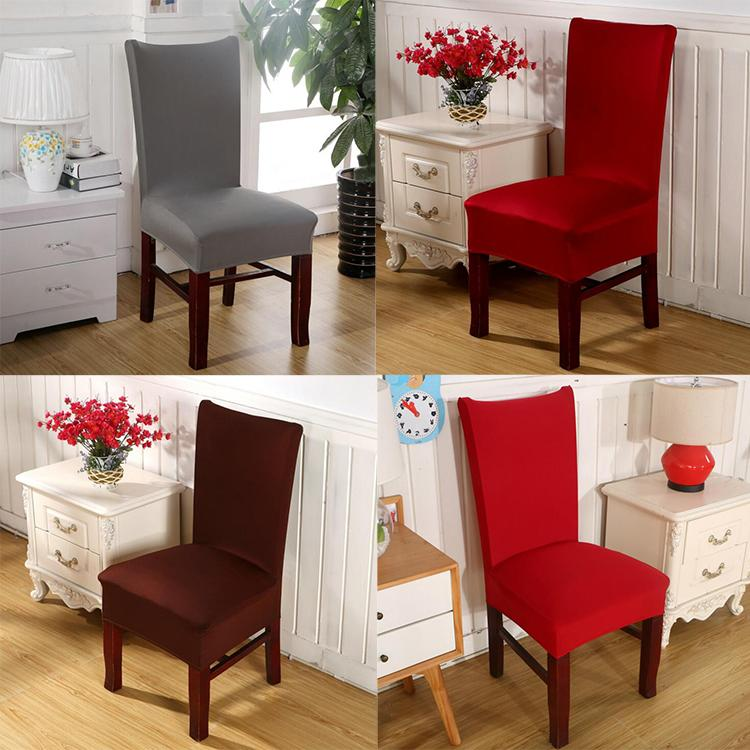 Solid Color Dinning Chair Covers Stretch Spandex Banquet Chair Seat Covers  Wedding Party Hotel Restaurant Kitchen Chair Protector Slipcover Couch ...