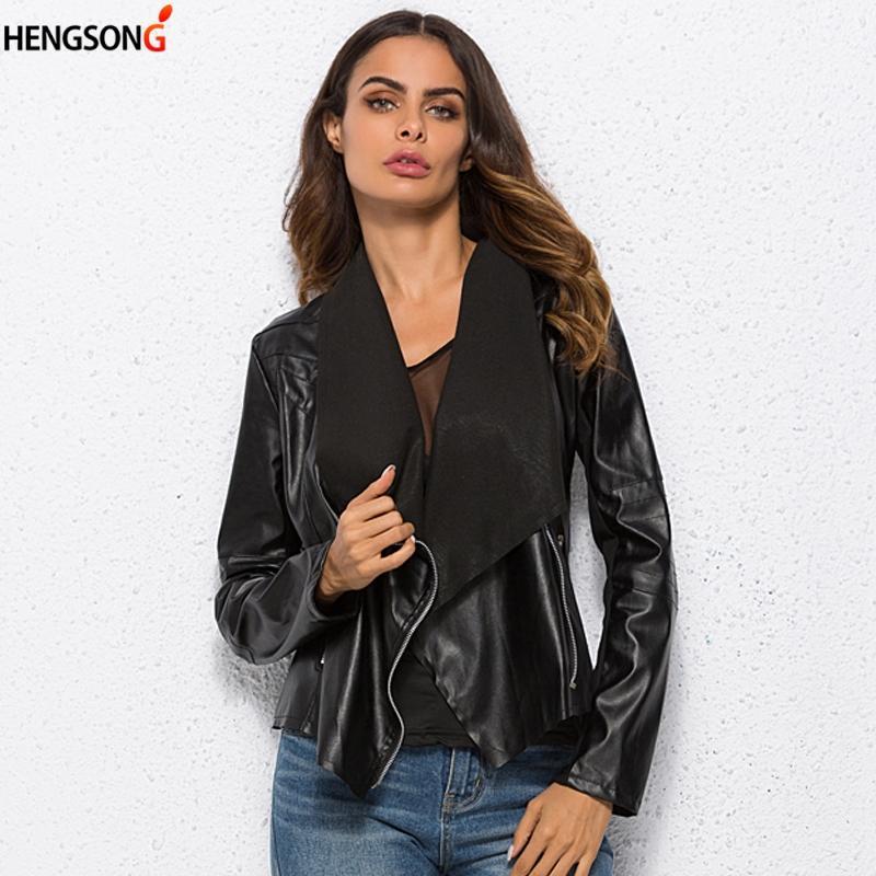 Fashion Women PU Leather Coat Cardigan Open Stitch Turn-down Collar Jacket Outwear Women Punk Style Jacket XS-6XL