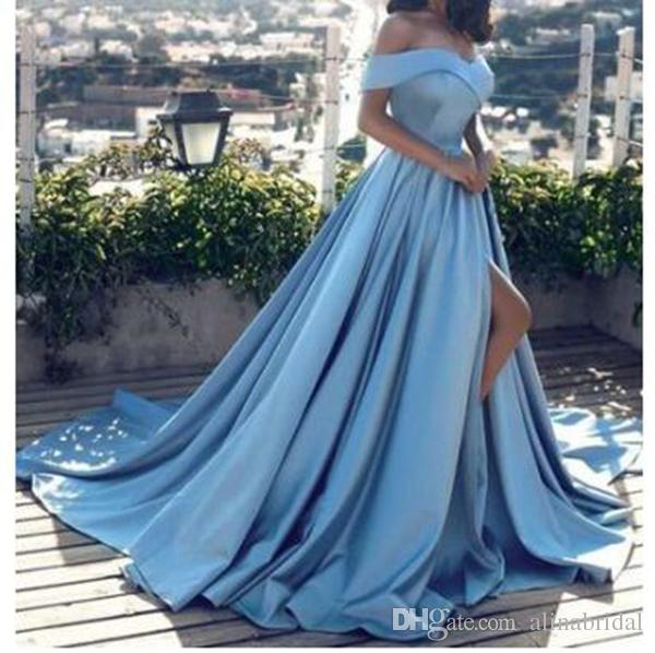 2019 Modern Arabic light blue Evening Dresses Sexy Off the Shoulder Front Split prom dresses Satin A Line Elegant Long Prom Party Gown