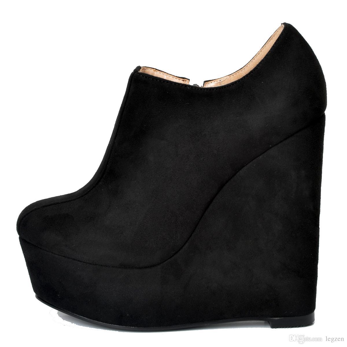 gran selección de bc62d cf873 Compre Legzen Moda Mujer Botines Plataforma Punta Redonda Cuña Bootie Faux  Suede Negro Zapatos Mujer Tallas Grandes A $57.28 Del Legzen | DHgate.Com