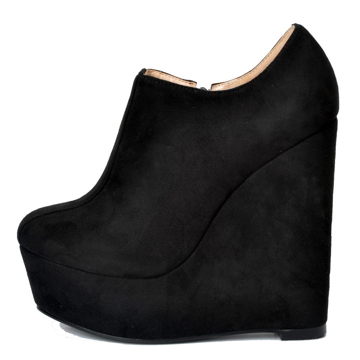 Legzen женская мода ботильоны платформа круглый носок Клин бути искусственной замши черные туфли женщина плюс размер