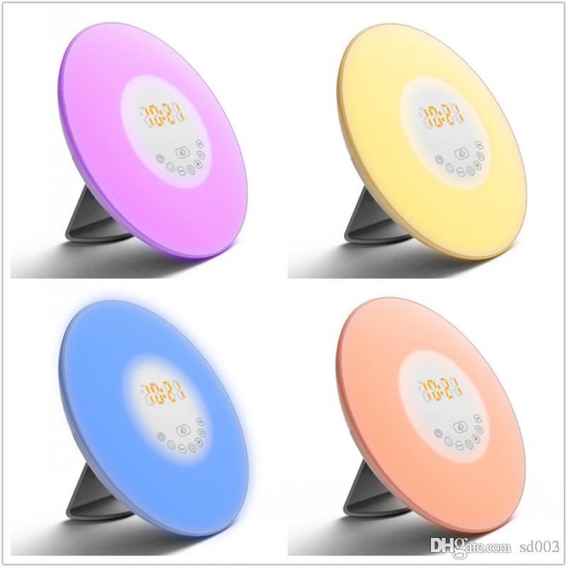 Fashion Touch-Sensing-Digital-Wecker mit FM Radio-Nachttischlampe, Sonnenaufgang, Sonnenuntergang LED Design Dekorationen New 80yz ZZ
