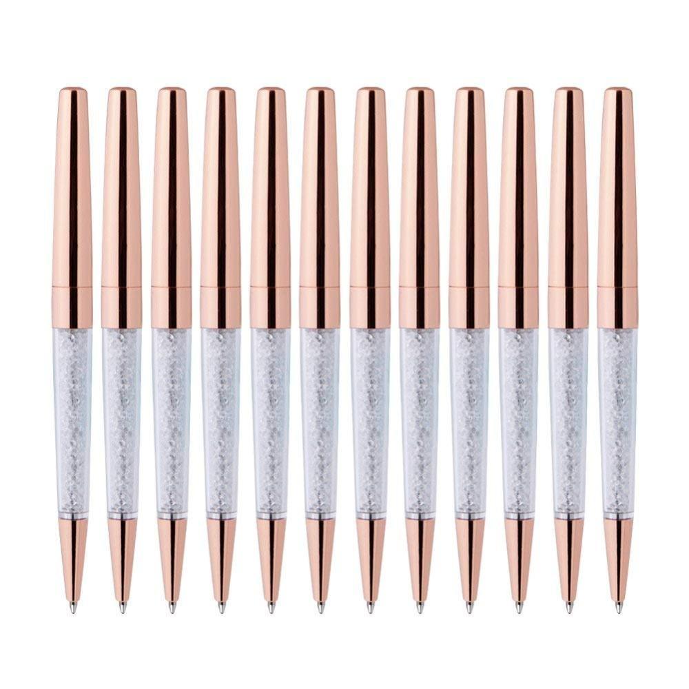 100Pcs/Lot Rose Gold Pen Bling Diamond Pens Fine Black Ink Crystal Ballpoint Pen Ring Wedding Office Metal Roller Ball Gift