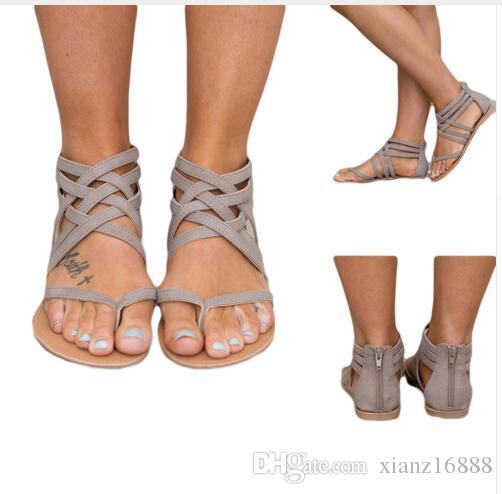 النساء أحذية صنادل الراحة صنادل الصيف زحافات الأزياء عالية الجودة الصليب الشريط الصنادل المسطحة المصارع sandalias موهير