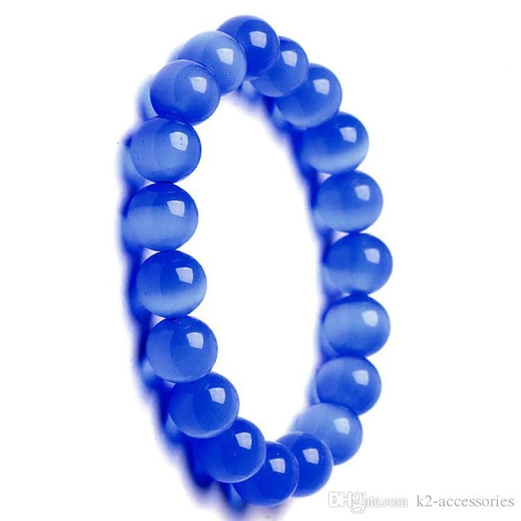 6mm 8mm 10mm royal blue Cat Eye Charm Bracelet Semi Precious Stone Round Beads Bracelet For Women Bridal Jewelry Love Gift